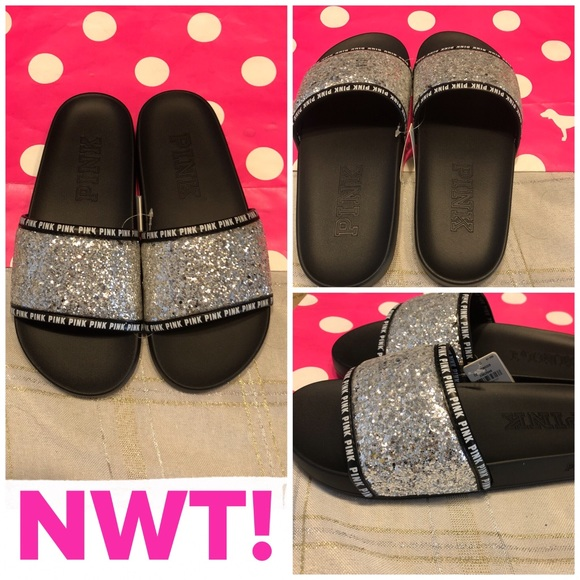 a15622e2aa7b 💎NWT! PINK SINGLE-STRAP BLING SLIDES💎